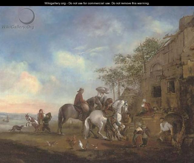 Travellers at rest at a farrier - (after) Philips Wouwerman