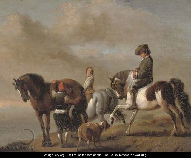 A landscape with horsemen by a bank - (after) Philips Wouwerman