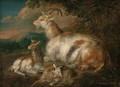 Goats and a kid in a wooded landscape - (after) Philipp Peter Roos