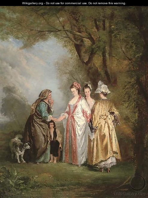 Elegant company with a gypsy in a landscape - (after) Mercier, Philippe