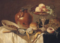 An oyster and a peeled lemon on a pewter plate - (after) Pieter Claesz