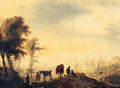 Figures resting on a Track, with a Town beyond - (after) Philips Wouwerman
