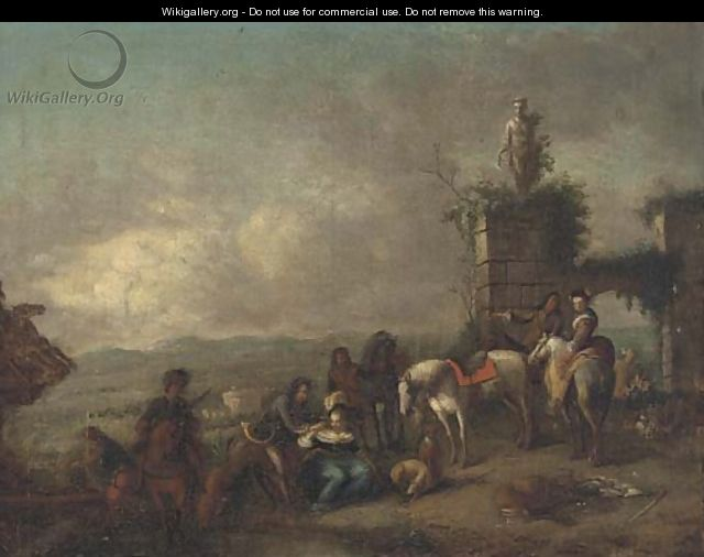 A hunting party at rest in a landscape - (after) Philips Wouwerman