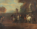 A hunting party and cavalrists at a riding school, in Italianate landscapes - (after) Pieter Van Bloemen