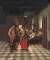 An interior with a soldier paying a servant - (after) Pieter De Hooch