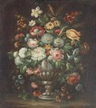 Roses, carnations, morning glory, a tulip and other flowers in a vase on a ledge - (follower of) Nuzzi, Mario