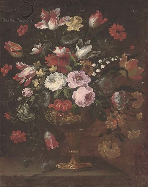 Parrot tulips, roses, narcissi and other flowers in an urn on a ledge - (follower of) Nuzzi, Mario