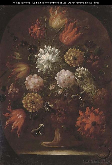 Chrysanthemums, tulips and other flowers in an urn, in a feigned oval - (follower of) Nuzzi, Mario