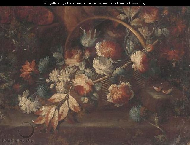 A basket of flowers on a ledge in a clearing - (follower of) Nuzzi, Mario