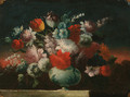 Roses, tulips, peonies and other flowers in a vase on a stone ledge - (follower of) Nuzzi, Mario