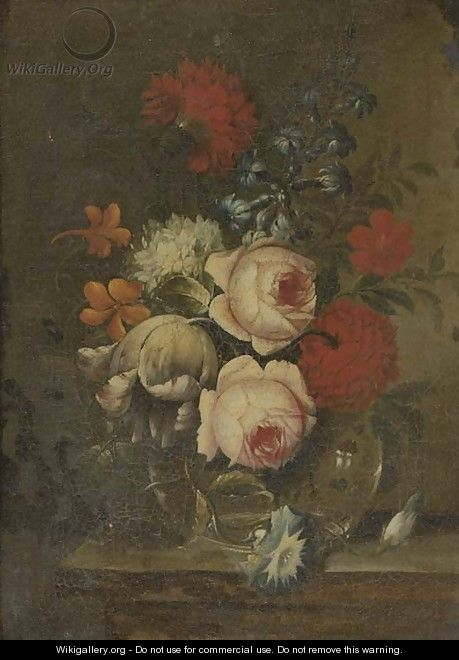 Roses, parrot tulips, narcissi and other flowers in glass vase on a ledge - (follower of) Nuzzi, Mario