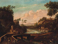 An Italianate river landscape with travellers and a drover crossing a bridge - (after) Marco Ricci