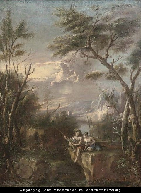 A wooded river landscape with figures fishing on a cliff - (after) Marco Ricci
