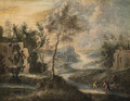 A River Landscape with Fisherman on a Bank near a Fountain - (after) Marco Ricci