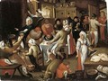 Peasants feasting and making music in an inn - (after) Marten Van Cleve