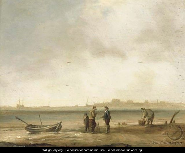 A coastal landscape with fishermen with their catch in the foreground - (after) Ludolf Backhuysen
