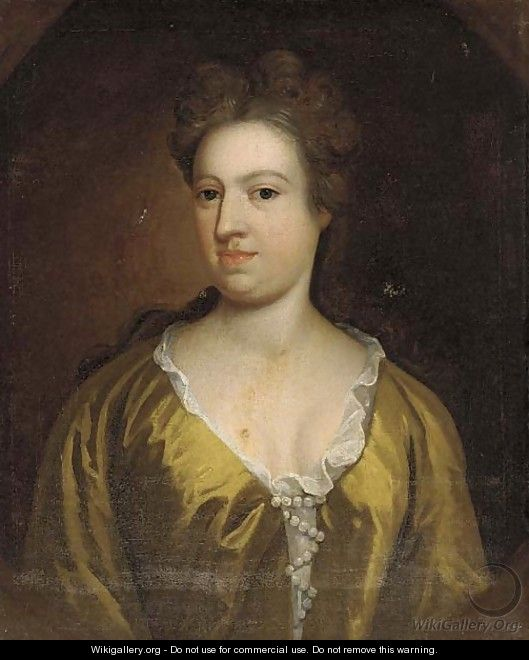 Portrait of a lady, bust-length, in a yellow dress, feigned oval - (after) Dahl, Michael