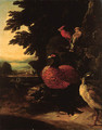 Poultry on a riverbank by a cliff, a landscape beyond - (after) Melchior De Hondecoeter