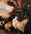 Poultry by a yoke and a well on a farmyard - (after) Melchior De Hondecoeter