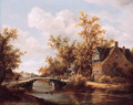 A view on a farm by a canal with travellers on a road by a bridge - (after) Meindert Hobbema