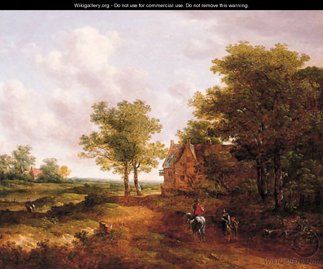 A traveller conversing with a peasantwoman on a track by an inn - (after) Meindert Hobbema