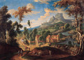 Peasants and travellers on a road by a village in a mountainous landscape - (after) Matthys Schoevaerdts