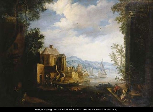 Merchants and townsfolk on a quay in a Mediterranean harbour - (after) Matthys Schoevaerdts