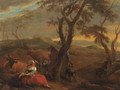A peasantwoman resting at the foot of a tree in an Italianate landscape, at sunset - (after) Nicolaes Berchem