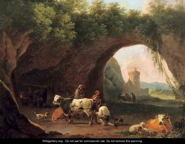 Peasants with their cattle and sheep by the entrance to a grotto - (after) Nicolaes Berchem