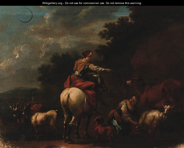 Drovers With Goats And A Cow In A Landscape - (after) Nicolaes Berchem