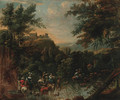 An extensive landscape with a hunting party and drovers watering cattle at a stream, a hilltop village beyond - (after) Nicolaes Berchem