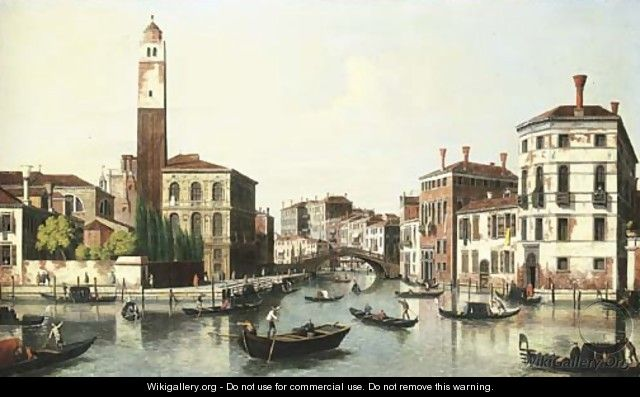 The Grand Canal, Venice, and the entrance to the Cannaregio with the church of San Geremia - (follower of) Marieschi, Michele