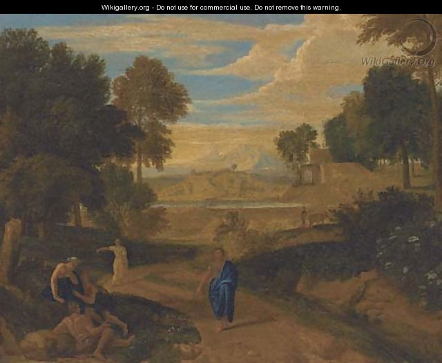 An Italianate wooded landscape with classical figures on a path, a river beyond - (after) Nicolas Poussin