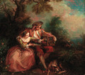 An elegant couple with a caged bird in a landscape - (after) Lancret, Nicolas