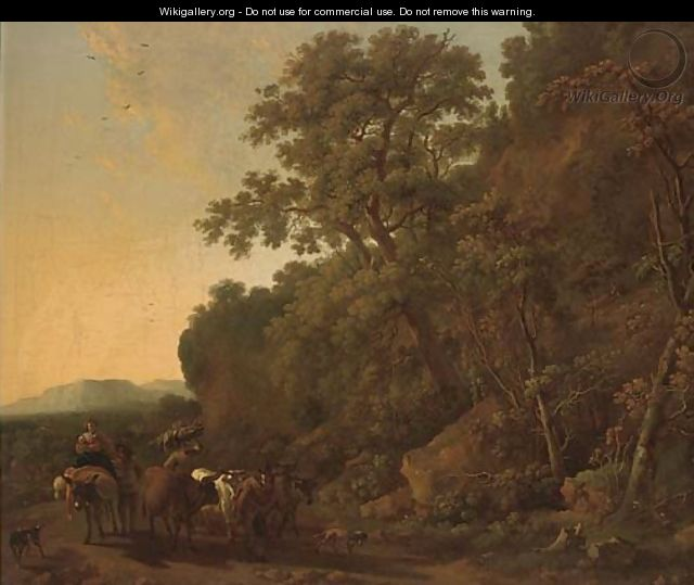 A wooded landscape with a drover and his cattle with other travellers on a track - (after) Nicolaes Berchem