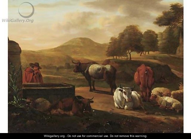 A shepherd drinking water from a fountain, cattle and sheep nearby, in a mountainous landscape - (after) Nicolaes Berchem