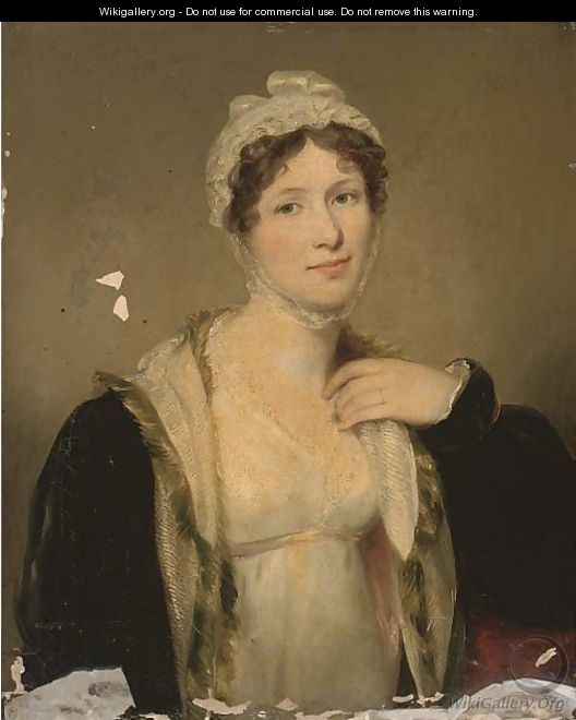 Portrait of Mrs Carpenter, nee Geddes, half-length, in a white dress and black fur trimmed cloak - (after) Hoppner, John