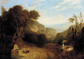 An italianate landscape with figures on a path - (after) Joseph Mallord William Turner