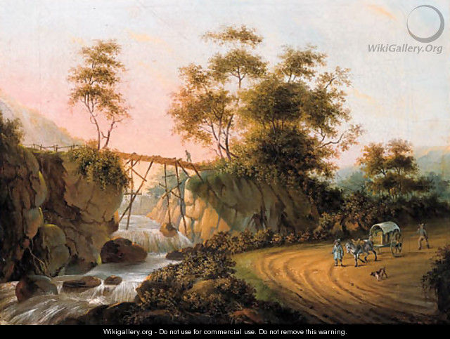 Peasants returning from a market on a road by a waterfall in an Italianate landscape - (after) Joseph Augustus Knip