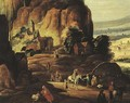 Travellers and beggars on a mountain path - (after) Joos Or Josse De, The Younger Momper