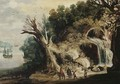 A mountainous river landscape with travellers on a track by a waterfall - (after) Joos Or Josse De, The Younger Momper