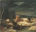 A winter river landscape with travellers on a track, a village beyond - (after) Joos Or Josse De, The Younger Momper