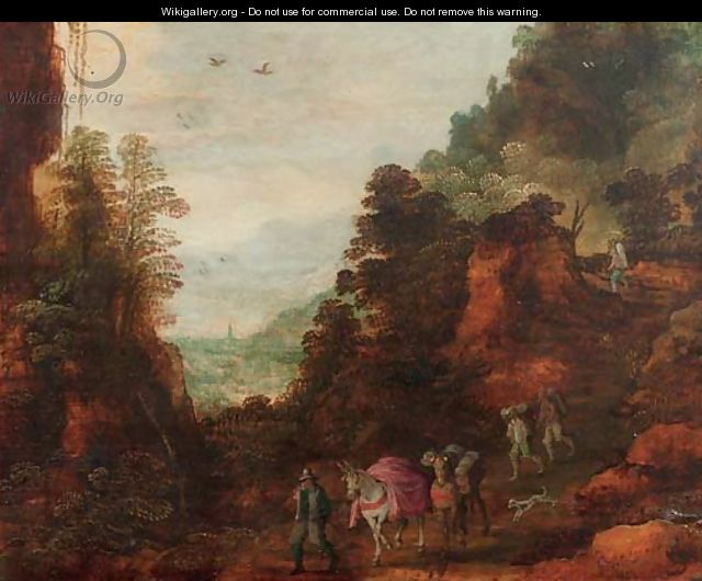A rocky wooded landscape with travellers and mules on a track - (after) Joos Or Josse De, The Younger Momper