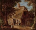 A wooded landscape with boors drinking by a cottage - (after) Joos Cornelisz. Droochsloot