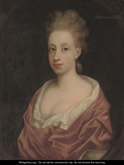 Portrait of a lady, bust-length, in a white dress and pink wrap, in a feigned oval - (after) Richardson. Jonathan