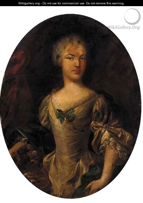 Portrait of a lady, half-length, in a cream dress and green wrap - (after) John Vanderbank