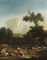 A wooded landscape with women washing clothesby a lake, with herdsmen, cattle and sheep - (after) Of Karel Dujardin