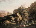 A mountain river landscape, with fishermen - (after) Claude-Joseph Vernet