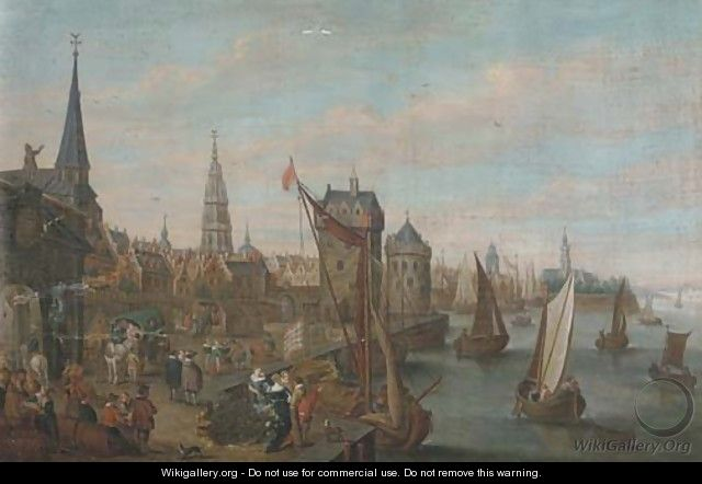 A view of Antwerp with elegant company on a quay - (after) Joseph Van Bredael