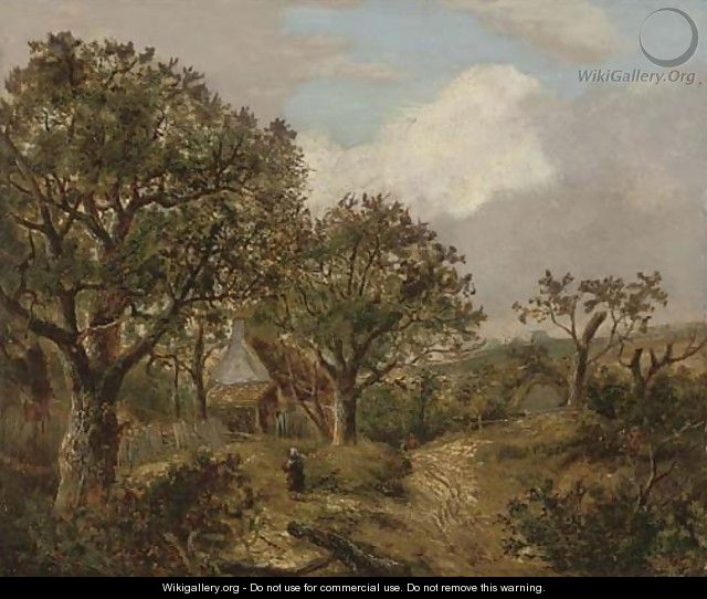 Figures on a wooded path before a cottage - (after) Joseph Thors